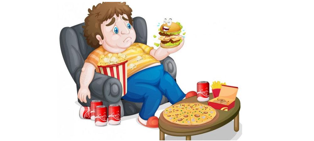 bambino obeso che mangia molto